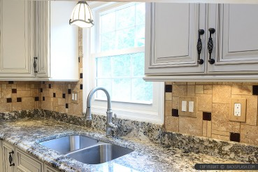 Brown Glass Travertine Backsplash Granite Countertop
