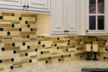 Subway Travertine With Brown Glass Backsplash Tile