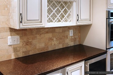 Travertine Subway Backsplash Brown Countertop