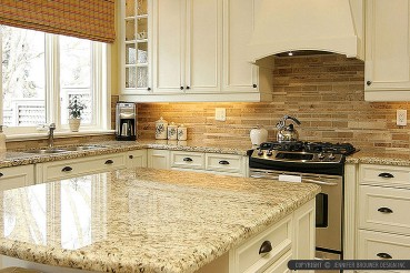 Subway Travertine Kitchen Backslash Tile